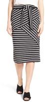 Halogen Stripe Tie Waist Tiered Front Knit Tube Skirt (Regular & Petite)