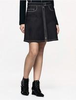 Calvin Klein Platinum Bonded Denim Zip Skirt