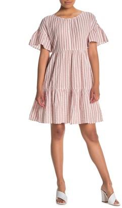 Velvet by Graham & Spencer Stripe Woven Tiered Dress