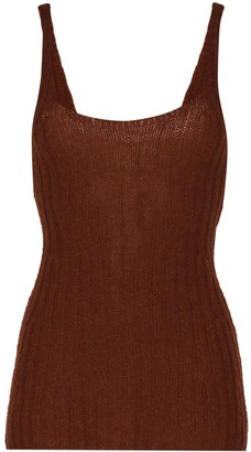 KHAITE Scoop Neck Ribbed Vest