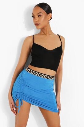 boohoo Geo Tape Textured Slinky Ruched Mini Skirt