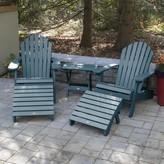 Adirondack Deerpark Plastic/Resin Folding Chairs with Table Longshore Tides Color: Nantucket Blue