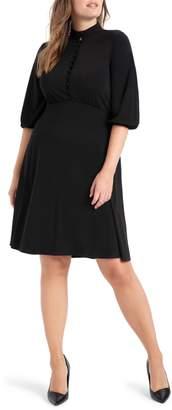 ELOQUII Button Front Empire Waist Dress
