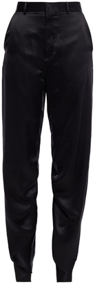 Y/Project Ruched Silk-satin Tapered Pants