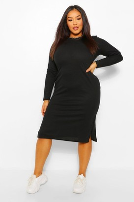 boohoo Plus Long Sleeve Soft Rib Knit Midi Dress