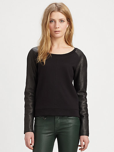 Burberry Leather-Sleeve Raglan Top