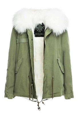 Mr & Mrs Italy Army Cotton Canvas Mini Parka With Fox Fur Lining