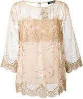 Twin-Set sheer floral lace trim top - women - Silk/Cotton/Polyamide/Polyester - 44