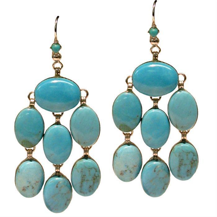 Siman Tu Blue Turquoise Cabochon Earrings