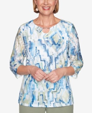 Alfred Dunner Petite Palo Alto Printed Knit Top