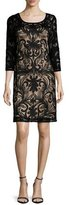 Sue Wong Embroidered 3/4-Sleeve Dress, Black
