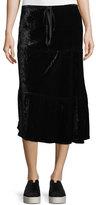 Allen Allen Long Tiered Velvet Skirt