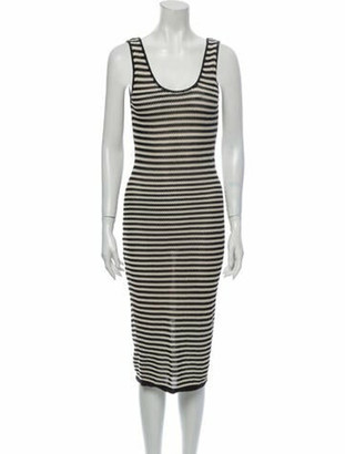 Alice + Olivia Striped Long Dress Black