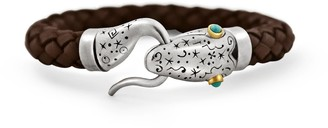 Snake Bones Snake Leather Bracelet in Silver 18KT Gold and Turqoise