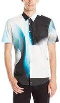 Calvin Klein Men's One Gradiant Block Short Sleeve Button Down Shirt