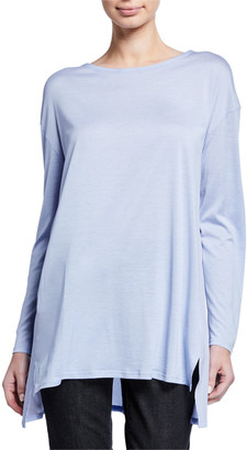 Eileen Fisher Petite Jewel-Neck Long-Sleeve Jersey Front Tunic w/ Silk Back