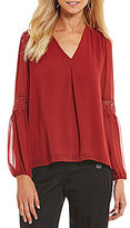 M.S.S.P. Crochet Bell Sleeve Textured Crepe Blouse