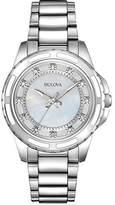 Bulova Ladies Women's Designer Diamond Watch - Stainless Steel Bracelet Wrist Watch 96S144