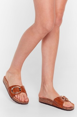 Nasty Gal Womens Let's Croc Faux Leather Buckle Sliders - Camel