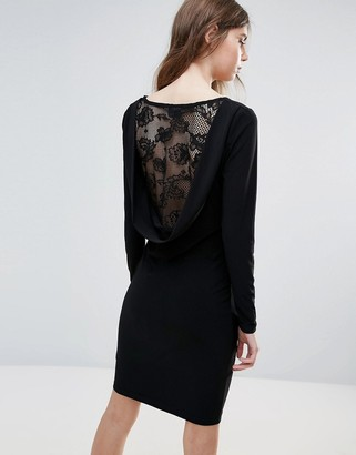 Ichi Lace Insert Back Bodycon Dress-Black