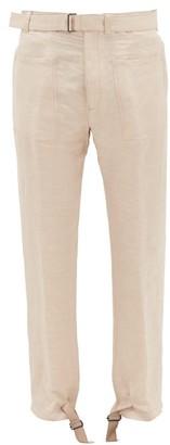 Ann Demeulemeester Buckled-cuff Linen-blend Trousers - Beige