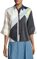 Public School Toriya Short-Sleeve Printed Satin Blouse, Multicolor