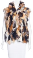 Adrienne Landau Fox Fur Mock Neck Vest