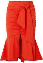 Rebecca Vallance Brescia Ruched Poplin Midi Skirt - Orange