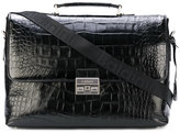 Baldinini crocodile embossed laptop bag