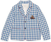 Gucci Children's check wool jacket with bee