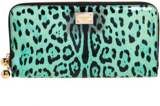 Dolce & Gabbana Green/Black Leopard Print Patent Leather Oversized Clutch
