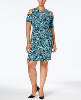 MICHAEL Michael Kors Size Printed Cold-Shoulder Dress