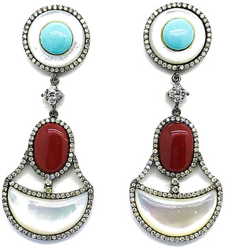 Arthur Marder Fine Jewelry Silver 3.00 Ct. Tw. Diamond, Gemstone, & Mother-Of-Pearl Earrings