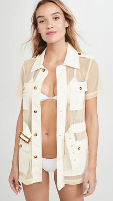 Solid & Striped Mesh Safari Dress