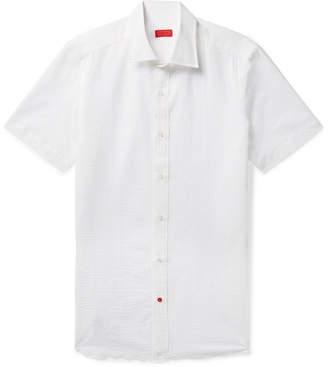 Isaia Slim-Fit Satin-Trimmed Cotton-Seersucker Shirt