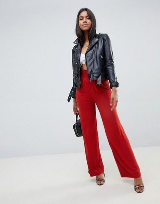 Asos Design DESIGN wide leg trousers with deep waistband-Red