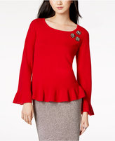 Charter Club Cashmere Embellished Peplum Sweater, Created for Macy's