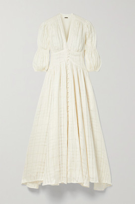 Cult Gaia Willow Checked Linen-gauze Midi Dress - Off-white
