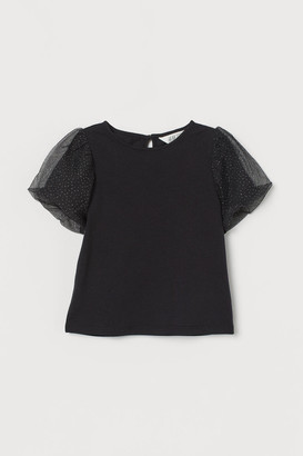 H&M Puff-sleeved jersey top