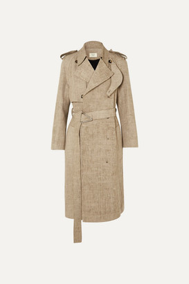 Bottega Veneta Frayed Belted Linen Trench Coat - Beige