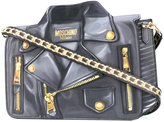 Moschino biker illusion print shoulder bag - women - Silk/Leather - One Size