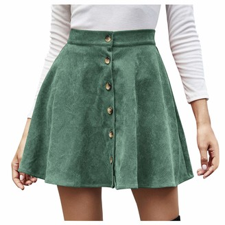 erthome1 Women Lady Casual Elastic Waist A-Line Skater Solid Color High Waist Corduroy A-line Skirt Mini Skirt Plus-Size Short Skater Skirt Sexy Black Dress