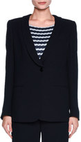 Giorgio Armani One-Button Stretch-Cloqué Jacket, Navy