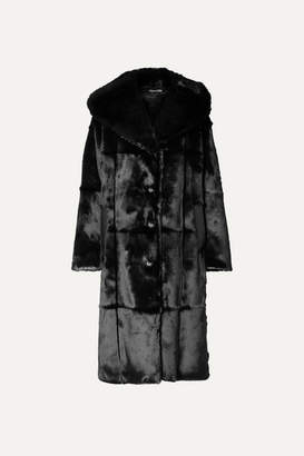 Tom Ford Oversized Hooded Leather-trimmed Faux Fur Coat - Black