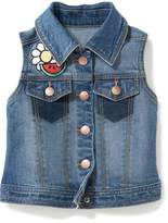Old Navy Patch-Graphic Denim Vest for Toddler Girls