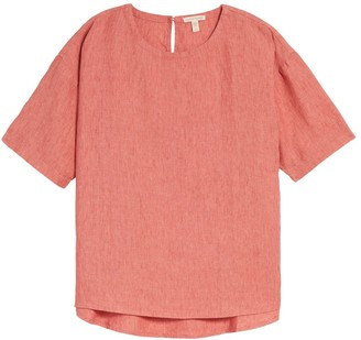 Eileen Fisher Linen Boxy Elbow Sleeve Top