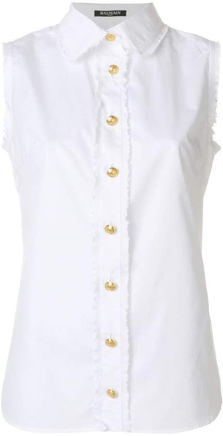 Balmain sleeveless button shirt