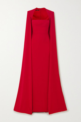 Alex Perry Laurel Cape-effect Crepe Gown - Red
