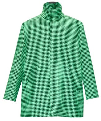 Balenciaga Single-breasted Boxy Houndstooth Coat - Green