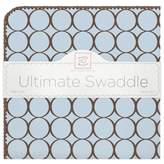 Swaddle Designs Receiving Blanket® with Brown Circles in Blue
